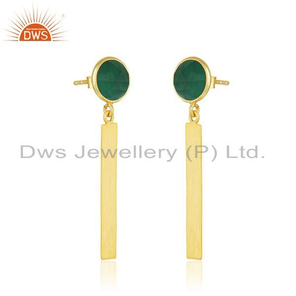 Exporter Natural Green Onyx Gemstone Silver Earrings Jewelry Manufacturer