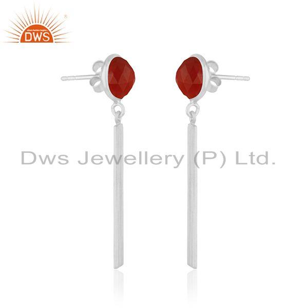 Exporter Red Onyx Gemstone 925 Sterling Fine Silver Bar Earring Manufacturer of Jewelry