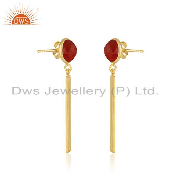 Exporter Yellow Gold Plated Sterling Silver Red Onyx Gemstone Bar Earring Manufacturer