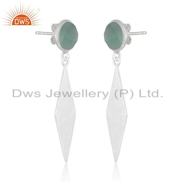 Exporter Indian Sterling Fine SIlver Aqua Chalcedony Earrings Jewelry Manufacturer