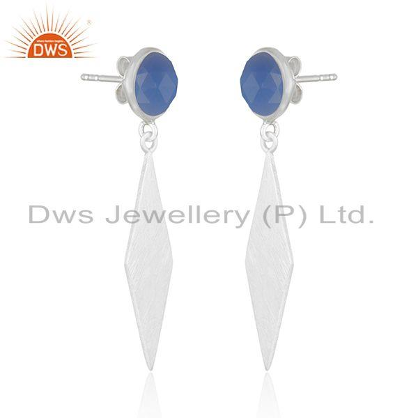 Exporter Blue Chalcedony Designer Fine Silver Gemstone Earrings Jewelry Supplier