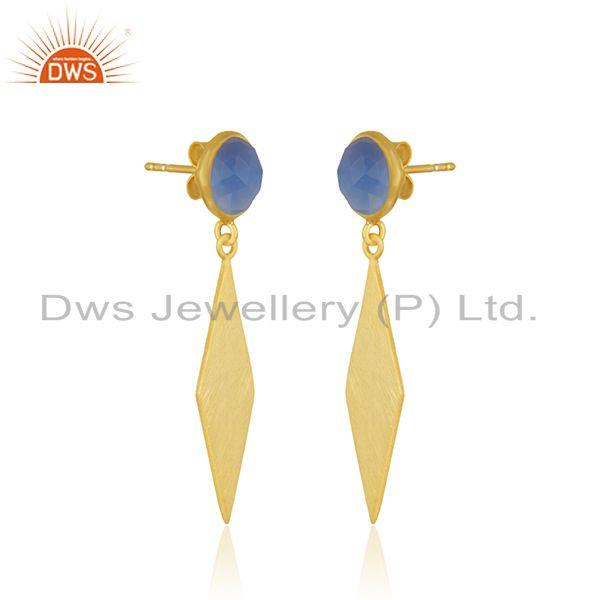Exporter Blue Chalcedony Gemstone 925 Sterling Silver Gold Plated Earrings Manufacturer