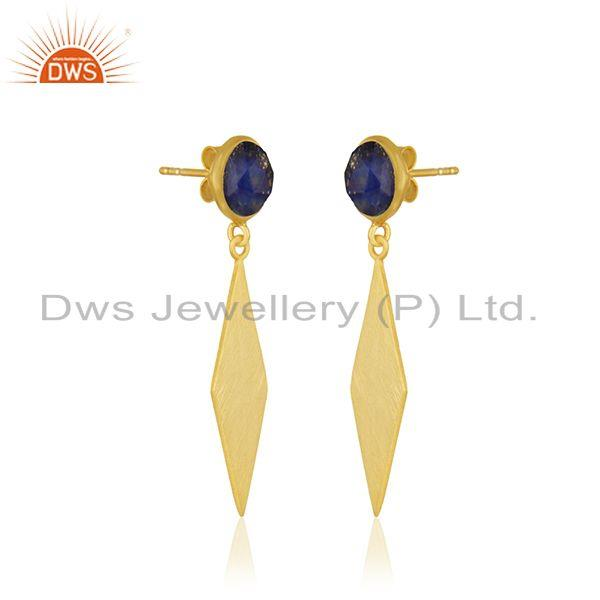Exporter Lapis Lazuli Gemstone Yellow Gold Plated Dangle Earrings Manufacturer INdia