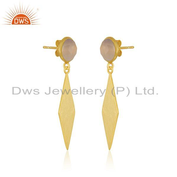 Exporter 14k Yellow GOld Plated 925 Silver Rose Chalcedony Gemstone Earrings Manufacturer