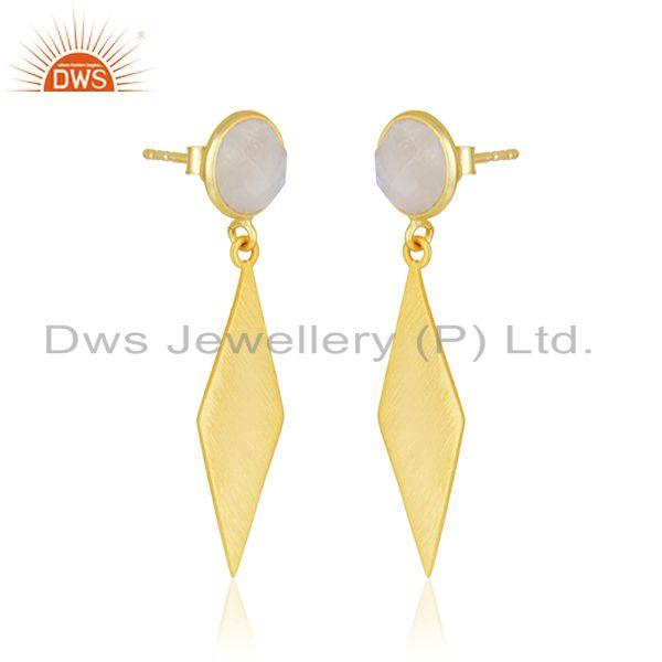 Exporter Rainbow Moonstone Wholesale Designer Gold Plated Silver Earrings Supplier