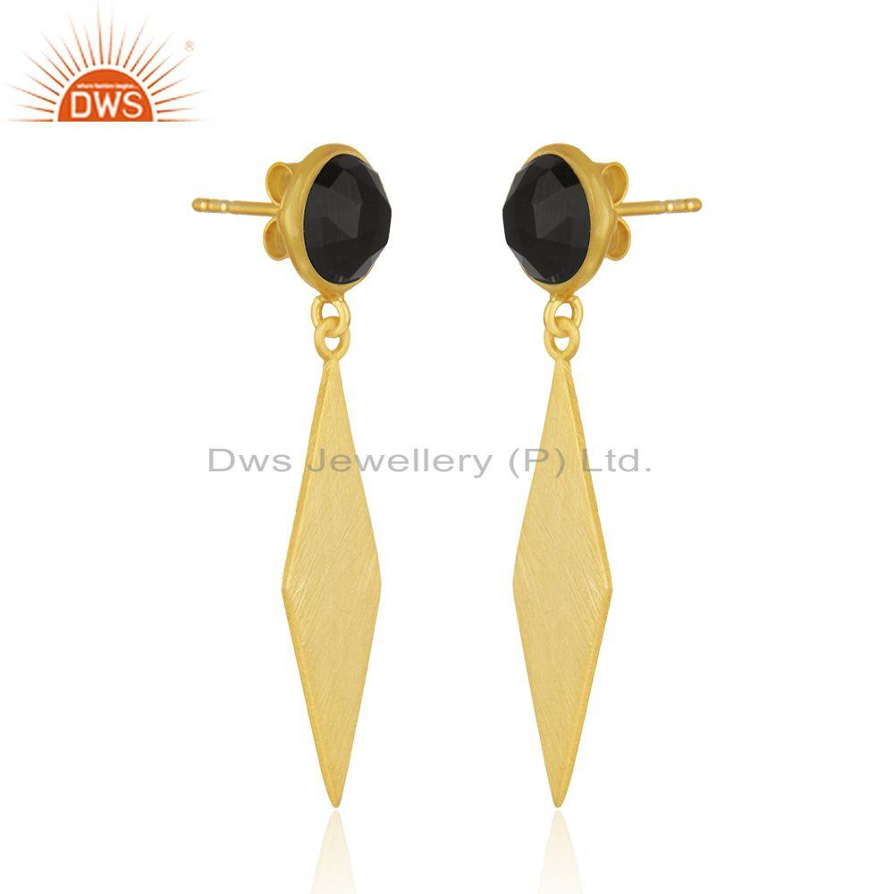 Exporter New BLack Onyx Gemstone Silver Gold Plated Earrings Jewelry