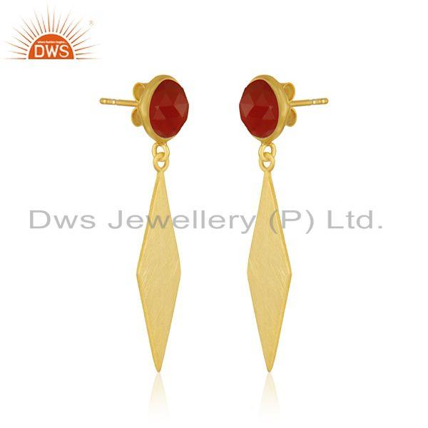 Exporter Yellow Gold Plated Sterling Silver Red Onyx Gemstone Earrings Manufacturer India