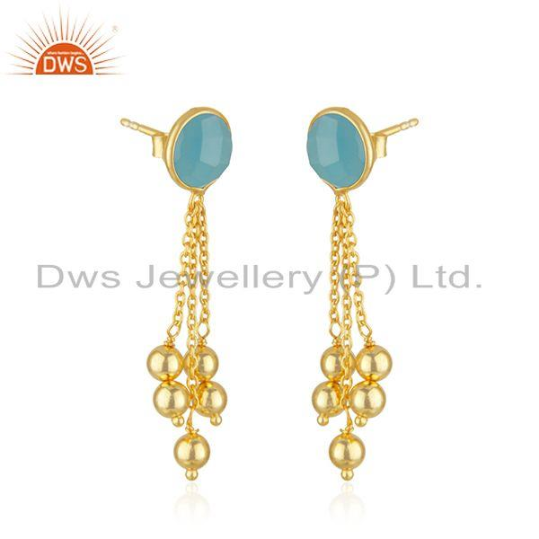 Exporter New arrival Gold Plated Silver Aqua Chalcedony Gemstone Earrings Jewelry