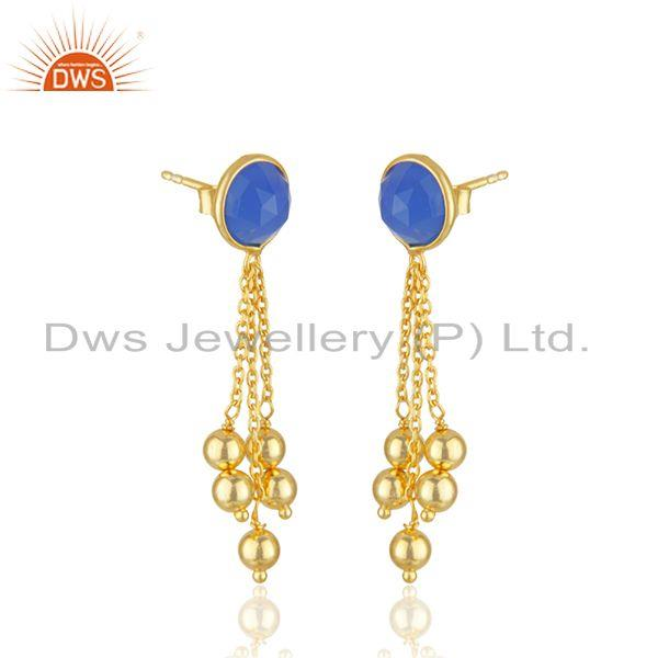 Exporter Designer Gold Plated 925 Silver Blue Chalcedony Earrings Jewelry Manufacturer