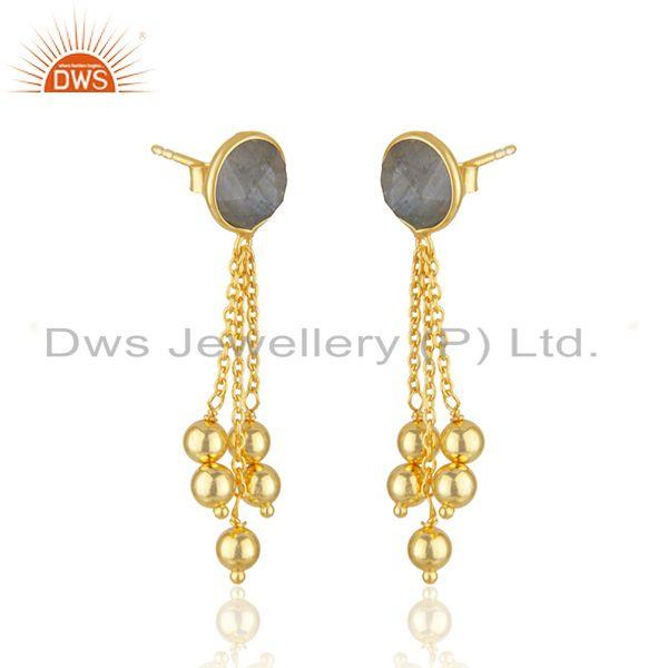 Exporter New Arrival Gold Plated 925 Silver Labradorite Gemstone Earrings Jewelry