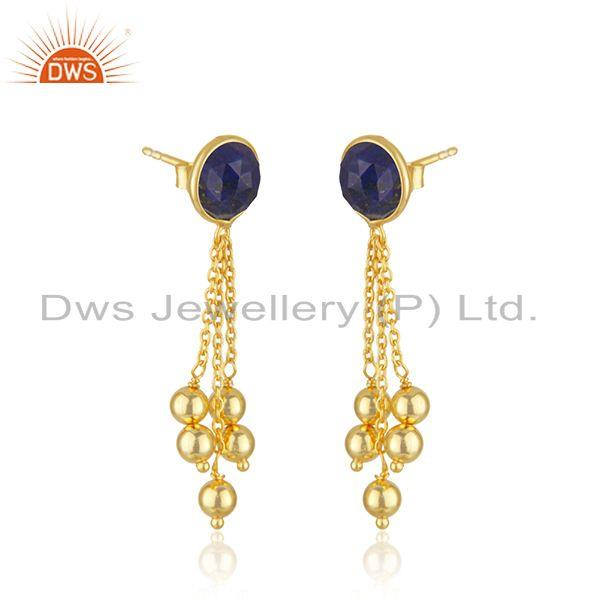 Exporter Natural Lapis Gemstone Gold Plated Silver Chain Earrings Jewelry Supplier