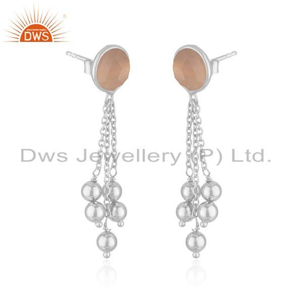 Exporter Manufacturer Fine Silver Rose Chalcedony Gemstone Earrings Jewelry
