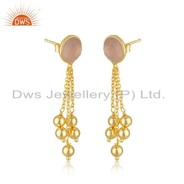 Exporter Rose Chalcedony Gemstone Silver Gold Plated Silver Chain Earrings Jewelry