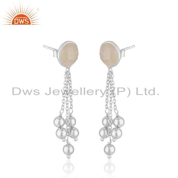 Exporter Rainbow Moonstone Fine Sterling Silver Chain Earring Manufacturer In India
