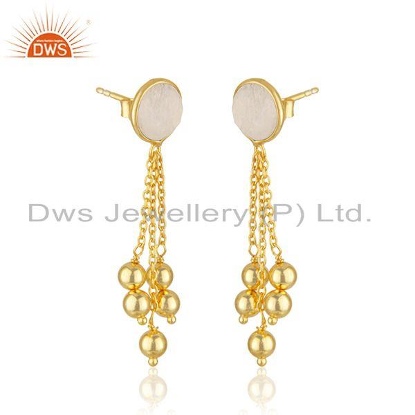 Exporter Rainbow Moonstone Gold Plated 925 SIlver Chain Earring Jewelry