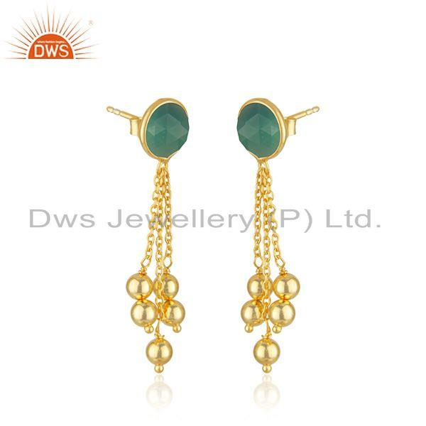 Exporter Designer 925 SIlver Gold Plated Earring Green Onyx Gemstone Jewelry