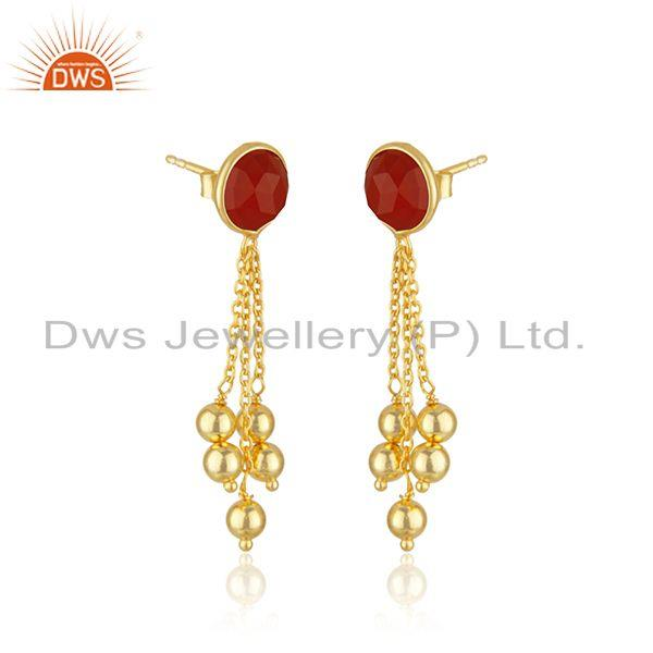 Exporter Yellow Gold Plated 925 Silver Red Onyx Gemstone Girls Earring Manufacturer
