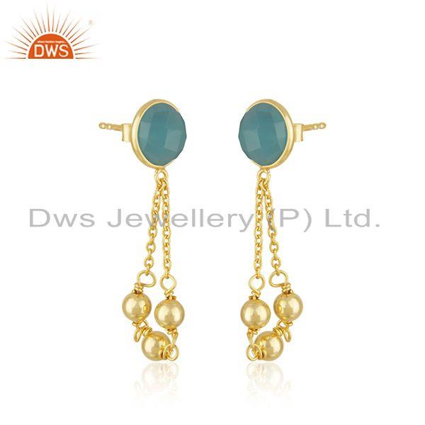 Exporter Aqua Chalcedony Gemstone 925 Silver Gold Plated Chain Earring Manufacturer India