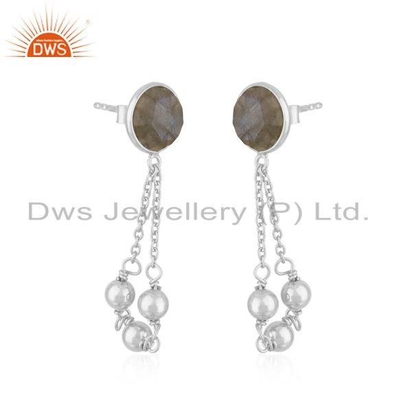 Exporter New Sterling Fine SIlver Natural Labradorite Gemstone Earring Jewelry