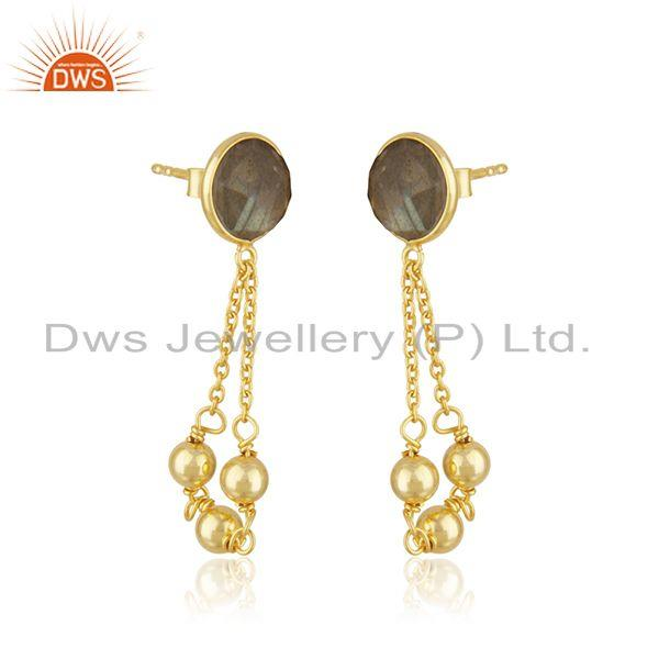Exporter 18k Gold Plated Sterling Silver Labradorite Gemstone Chain Earring Supplier