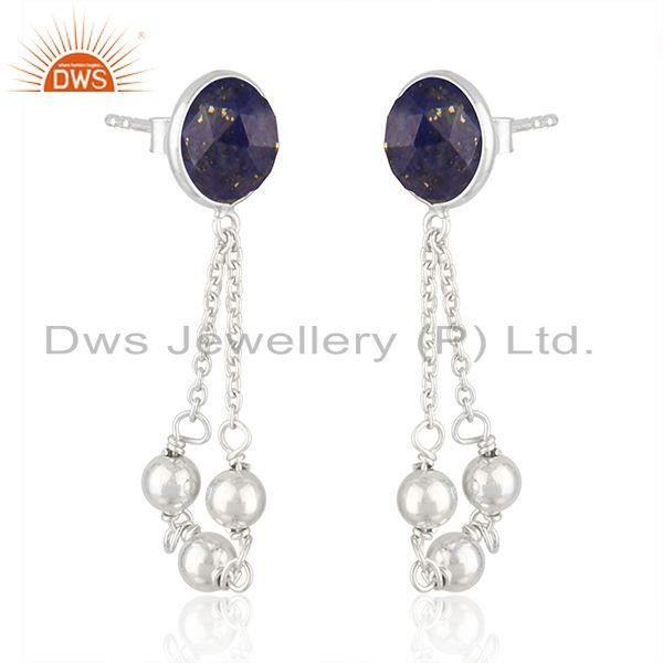 Exporter New Designer Sterling Silver Natural Lapis Earrings Jewelry Supplier