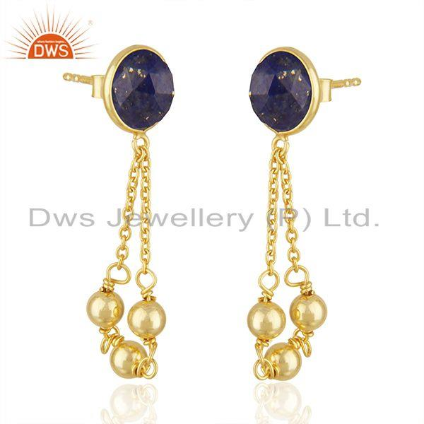 Exporter Natural Lapis Stone Designer Gold Plated Silver Chain Designer Earrings