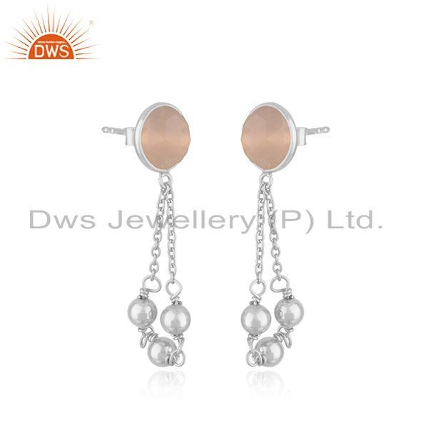 Exporter Rose Chalcedony Gemstone Handmade 925 Sterling Silver Chain Earring Suppliers