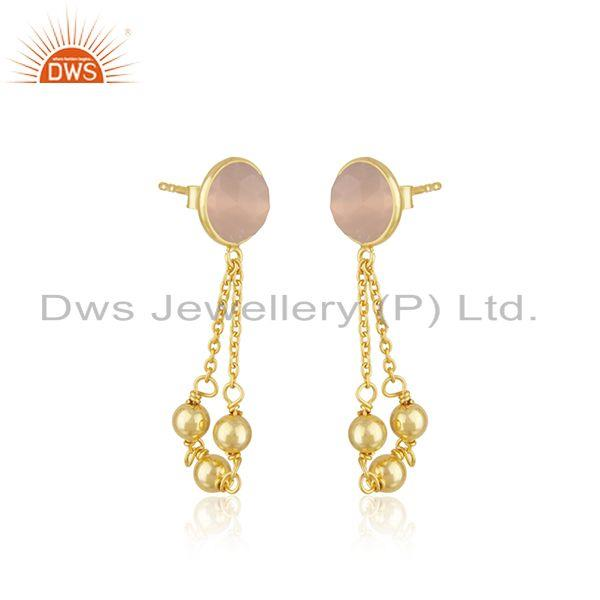 Exporter Rose Chalcedony Gemstone Gold Plated 925 Silver Chain Pendant Wholesale