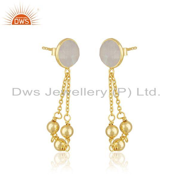 Exporter Rainbow Moonstone Gold Plated 925 Silver Chain Earring Wholesaler in India