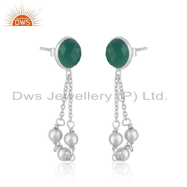 Exporter Green Onyx Gemstone Fine Sterling Silver Chain Earring Manufacturer India