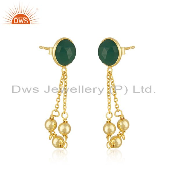 Exporter Designer Gold Plated Silver Womens Green Onyx Earrings Jewelry