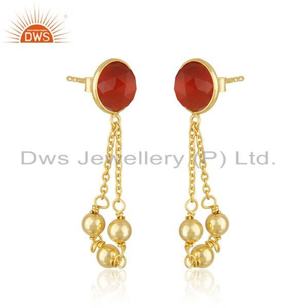 Exporter 14k Gold Plated Silver Red Onyx Gemstone Earrings Jewelry Supplier