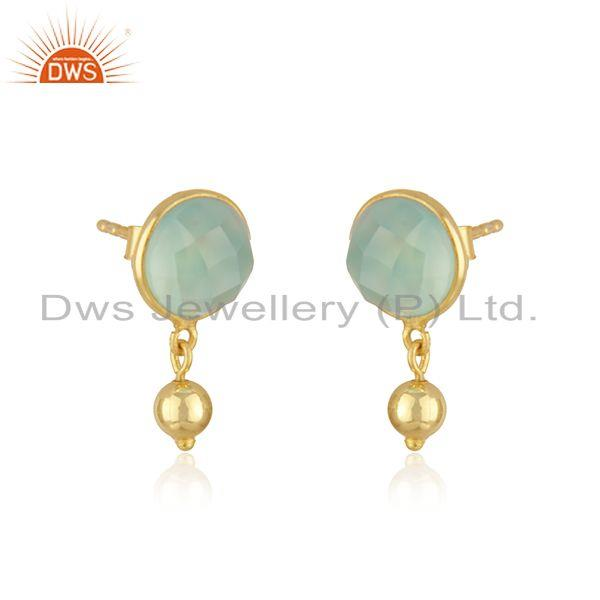 Exporter Manufacturer Aqua Chalcedony Gemstone Silver Gold Plated Earrings Jewelry