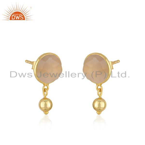 Exporter Rose Chalcedony Gemstone Earring Gold Plated Silver Earrings Jewelry