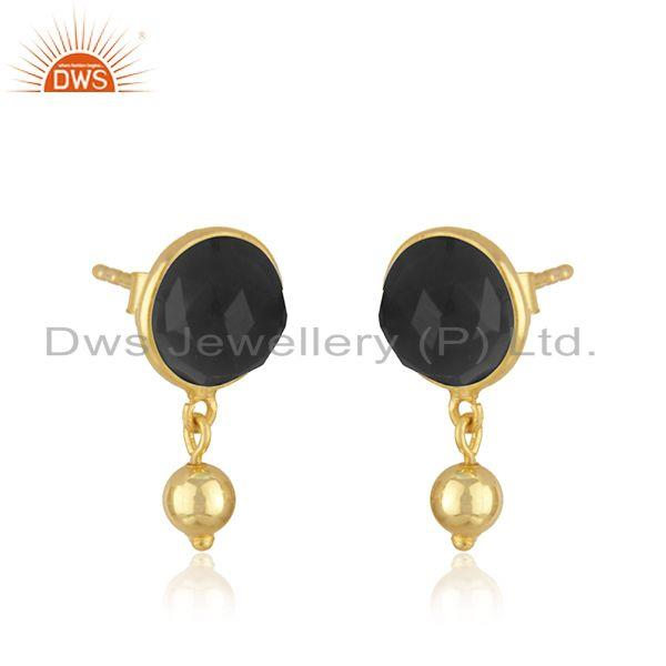 Exporter Designer Silver Gold Plated Black Onyx Gemstone Earrings Jewelry Supplier