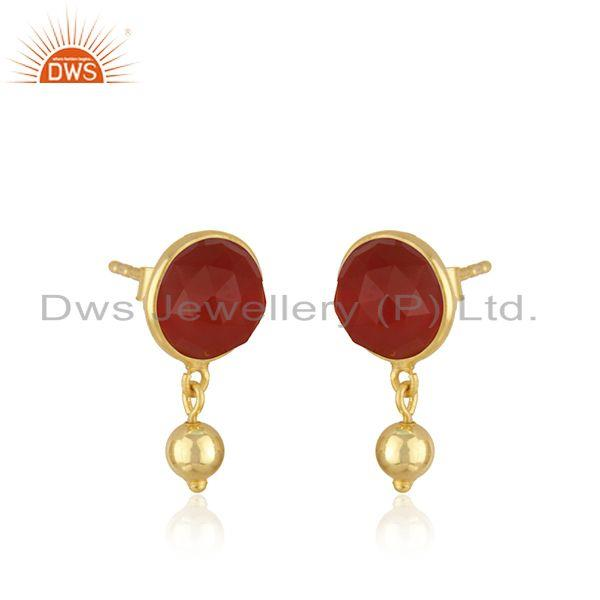 Exporter Red Onyx Gemstone Gold Plated Sterling Silver Drop Earring Manufacturer