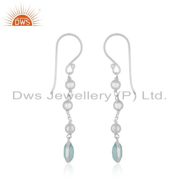 Exporter Aqua Chalcedony Gemstone Fine Sterling Silver Earring Manufacturer India