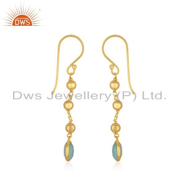 Exporter Handmade Gold Plated Silver Gold Plated Aqua Chalcedony Earrings Jewelry