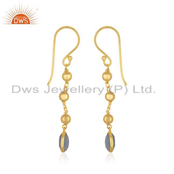 Exporter Indian Blue Chalcedony Designer Gold Plated Silver Earrings Jewelry