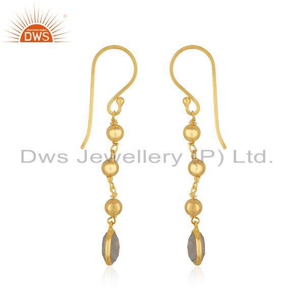 Exporter Labradorite Gemstone Yellow Gold Plated 925 Silver Earring Manufacturer in India