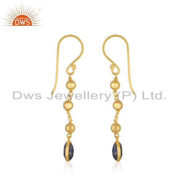 Exporter Lapis Lazuli Gemstone Gold Plated 925 Silver Earring Manufacturer India