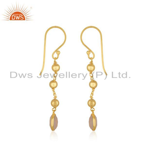 Exporter Manufacturer 18k Gold Plated Silver Rose Chalcedony Earrings Jewelry