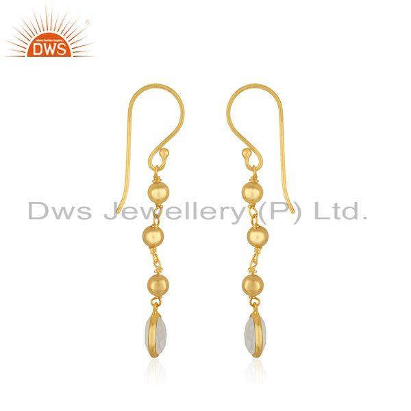 Exporter Raibow Moonstone Gold Plated 925 Silver Handmade Earring Manufacturer India