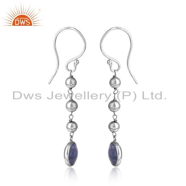 New arrival white rhodium plated silver tanzanite earring jewelry