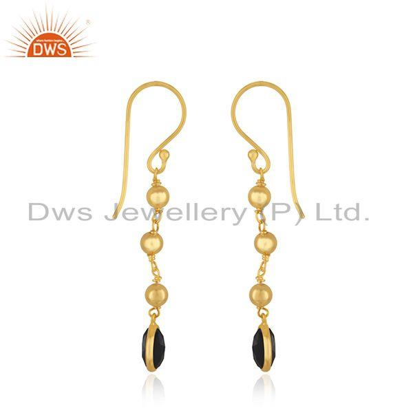 Exporter Yellow Gold Plated 925 Silver Black Onyx Gemstone Earring Wholesaler India