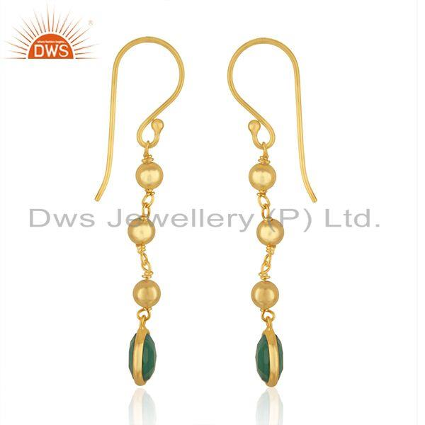 Exporter Designer Silver Gold Plated Silver Green Onyx Earrings Jewelry