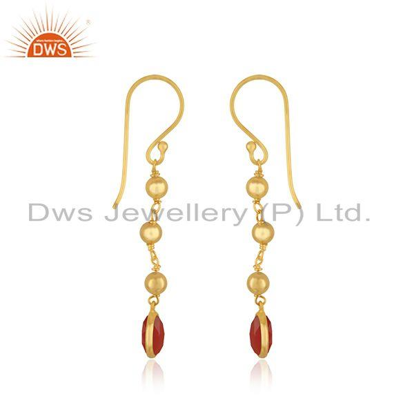 Exporter Red Onyx Gemstone Gold Plated 925 Silver Beaded Earring Manufacturer in Jaipur
