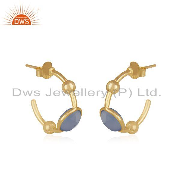 Exporter Blue Chalcedony Gemstone Gold Plated 925 Silver Hoop Earring Manufacturer Jaipur
