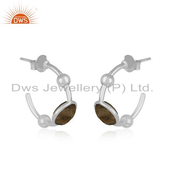 Exporter Indian 925 Silver Natural Smoky Quartz Gemstone Dangle Earring Jewelry