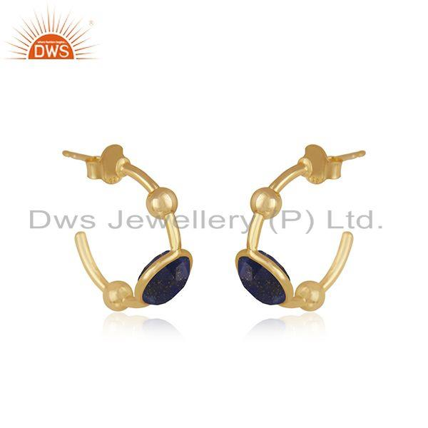 Exporter Lapis Lazuli Gemstone 925 Sterling Silver Gold Plated Hoop Earring Supplier